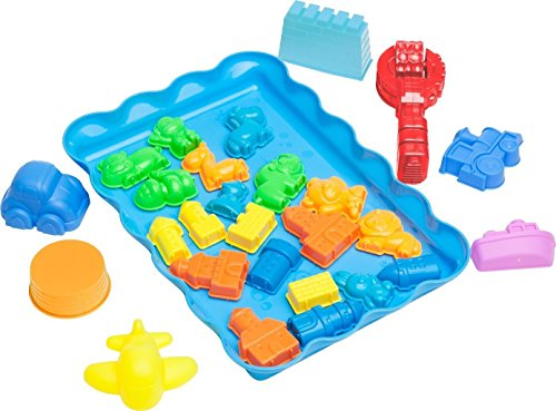 Deluxe City Sand Molds Kit (28 pcs) with Play Tray - Compatible with Kinetic Sand, Sands Alive, Brookstone Sand, Waba Sand, Moon Sand and All Other Molding Play Sand Brands - (Sand NOT included)