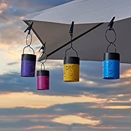 Smart Solar 3784WRM4 Fiesta Hanging Umbrella Solar Lanterns, Set of 4, With One Energy Saving White LED And Rechargeable Ni-MH Battery Per Lantern