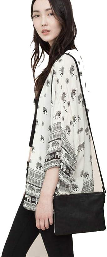 OverDose mujer Elefante Impreso Media Manga De Moda Mejor Regalo De Venta Kimono Rebeca Tops Blusa Tapa Arriba: Amazon.es: Ropa y accesorios