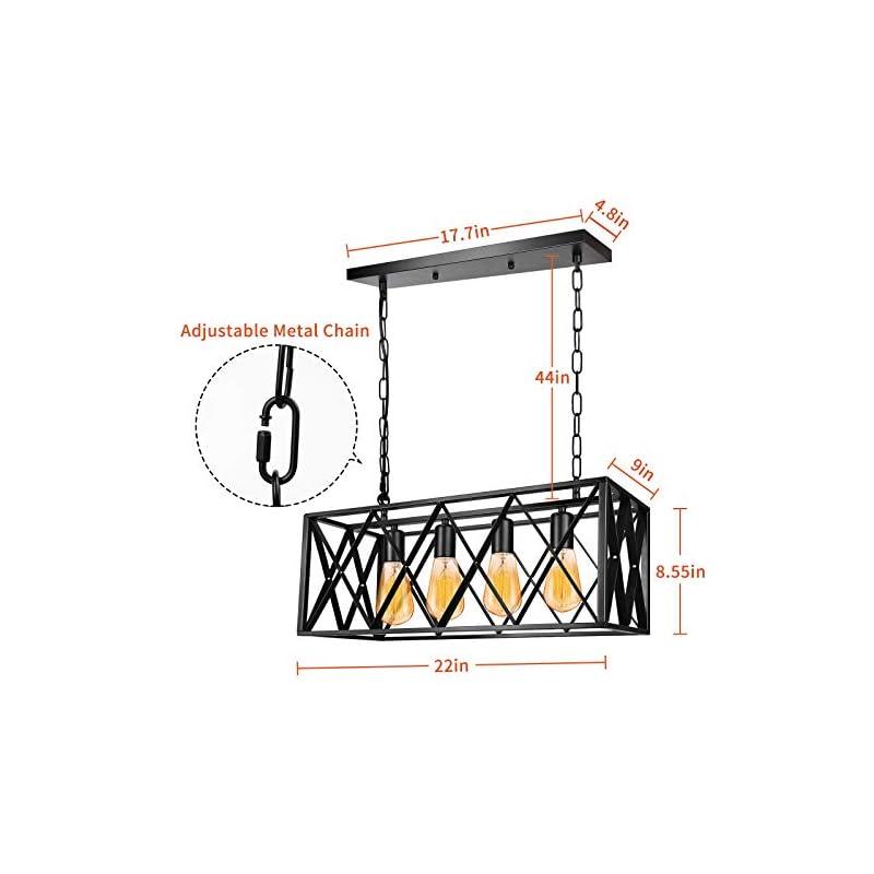 Industrial Kitchen Island Pendant Light Fixture, E26 Vintage Rectangular Pendant Lighting, 4-Light Black Metal Hanging…