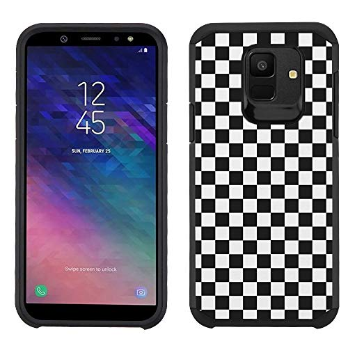 Case Checkers Protector (for Samsung Galaxy A6 Case, One Tough Shield Dual Layer Shockproof Protector Bumper Phone Case - Checker B/W)