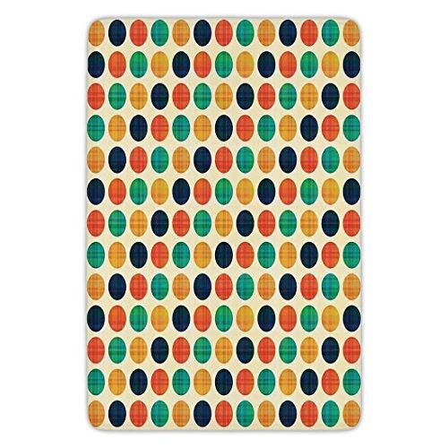 Point Clear Bedroom - Bathroom Bath Rug Kitchen Floor Mat Carpet,Polka Dots,Polka Dots in Nostalgic Funky Vibrant Colors Decimal Points Flecks Boho Illustration,Multi,Flannel Microfiber Non-slip Soft Absorbent