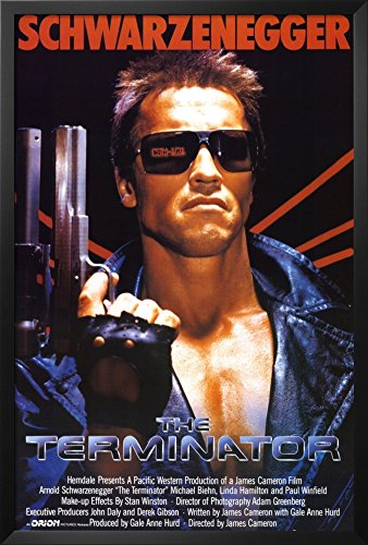 (Professionally Framed Terminator Movie Arnold Schwarzenegger with Gun 80s Poster Print - 24x36 with RichAndFramous Black Wood Frame)