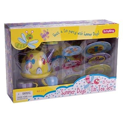 Schylling Summer Bugs Tin Tea Set: Toys & Games