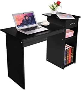 "41"" Writing Computer Desk Office Desks, Student Study Desktop Desk Laptop Table Modern PC Workstation Dormitory Study Desk with Bottom Storage Shelves and Drawers (Black)"