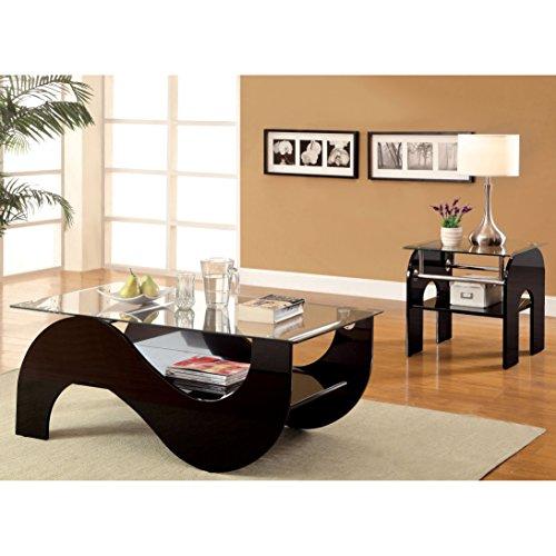 Metro Shop Furniture of America Sanzi 2-Piece Contemporary Black Lacquer Accent Table Set-Black