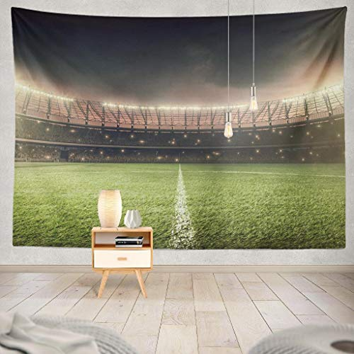 KJONG Green Football Soccer Stadium with Grass Soccer Stadium Night Football Decorative Tapestry,60X80 Inches Wall Hanging Tapestry for Bedroom Living Room ()