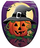 brown cushion toilet seat Toilet Tattoos, Toilet Seat Cover Decal,Hallows Eve Pumpkin, Size Elongated