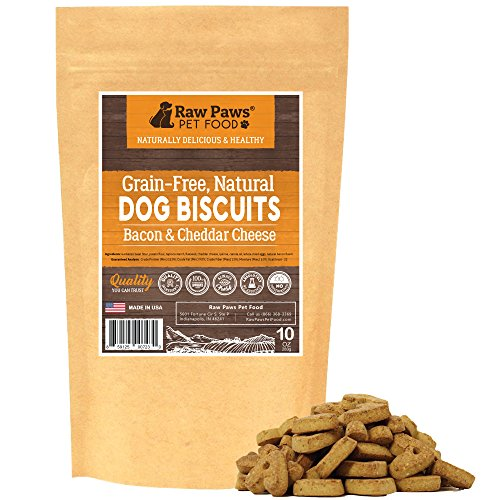 Raw Paws Bacon Cheese Dog Biscuits Grain Free, 10-oz - Baked Dog Treats Made in USA Only - Crunchy Cheese & Bacon Treats for Dogs - Heart Shaped Dog Biscuits ()