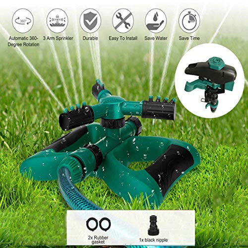 Durable Lawn Sprinkler, 3 Arm with Impact Water Sprinklers for Lawn Garden Yard Outdoor, 360 Rotating Sprinkler Irrigation System, Adjustable Spray Angle and Distance, Waters Area Up to 4500 sq.ft.