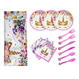 Muhuyi 71 Piece Magical Unicorn Party Supplies Set Perfect for Children's Unicorn Birthday Party, Including Plates, Napkins, Knife, Fork, Spoon and Tablecloth