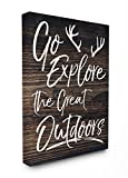 The Stupell Home Decor Collection Stupell Industries Go Explore The Great Outdoors Antlers Distressed Wood XXL Stretched Canvas Wall Art, 30 x 1.5 x 40, Proudly Made in USA