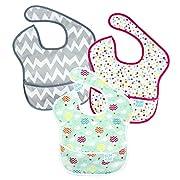 Bumkins Baby Bib, Waterproof SuperBib 3 Pack, G48 (Gray Chevron/Confetti/Balloons) (6-24 Months)