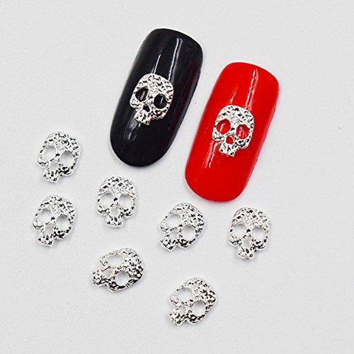 Charm Silver 3D Jewelry Flower Bow Skull Crown Rhinestones Nail Art Decorations Scrapbooking DIY (01) -