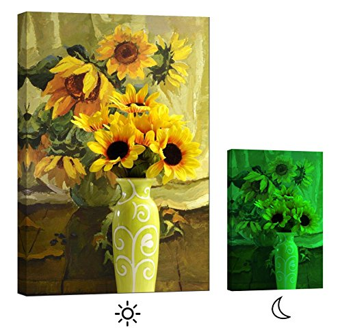Glow in the Dark  floral Canvas Wall Art , - Sunflowers in Vase