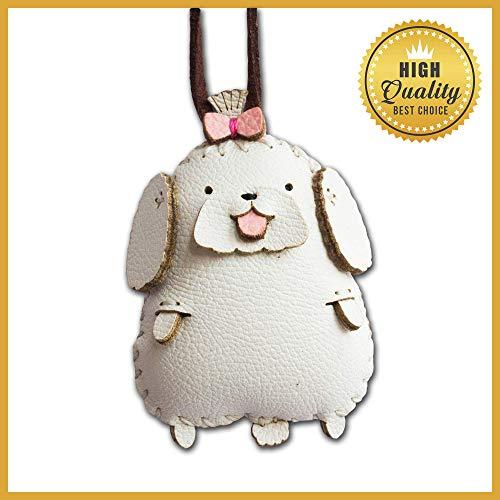 DECOOR Handmade Leather Key Chain Charms Key Ring Cute Maltese Bag Charm for Women Girls