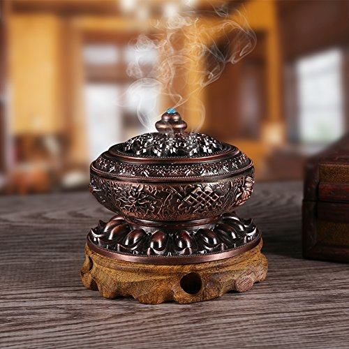 ArtChaser Incense Holder, Nepal Style Alloy Incense Burner (Wooden Pedestal not Included)