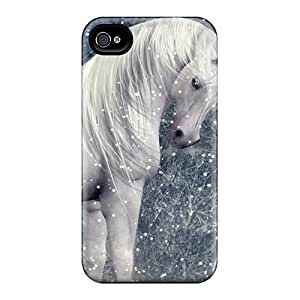 Hot PsNiuWH3729NqyqS Unicorn In A Snowy Forest Tpu Case Cover Compatible With Iphone 4/4s