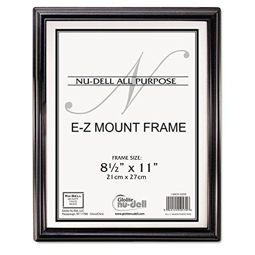 COU NuDell 10570 EZ Mount Document Frame Plastic 8 1/2 x 11 Black