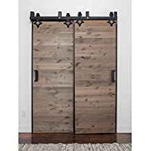 WINSOON Exterior Complete Metal Steel Rail Double Bypass Heavy Hanger Sliding Wooden Barn Doors Track Hardware Kit Quiet Glide System (10FT Double Doors Set)