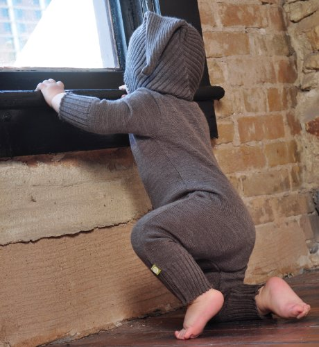 Nui Organics Milo Hooded Romper - Infant Boys' Cocoa, 12-18M