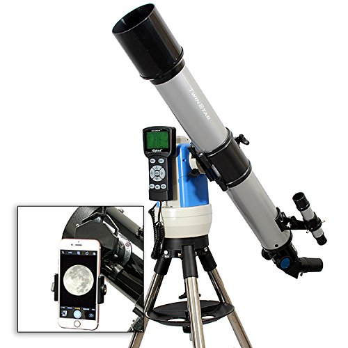 TwinStar Silver 70mm iOptron Computer Controlled Refractor Telescope With Universal Smartphone Camera Adapter by TwinStar / iOptron