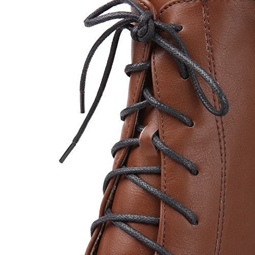 B M 5 Closed Boots Womens AmoonyFashion Soft Material Banage Solid and Toe Brown PU Round 5 Metalornament with US PU TU5BwUxqZ