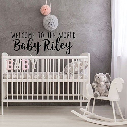 Jumbo Bassinet (Nursery Wall Decal - Welcome To The World Baby - Personalized Vinyl Decor for Children's Bedroom or Playroom Decoration)