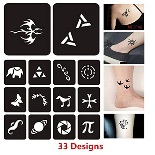 Henna Stencils 33 Designs/Set Small Henna Tattoos Stencils Woman Female Kids Cute Drawing Templates Cat Flower Star Airbrush Tattoo Stencils by Henna Stencils