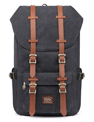 "KAUKKO Laptop Outdoor Backpack, Travel Hiking& Camping Rucksack Pack, Casual Large College School Daypack, Shoulder Book Bags Back Fits 15"" Laptop & Tablets (Canvas Black)"