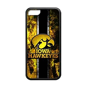 Generic Customize Unique Otterbox--NCAA Iowa Hawkeyes Team Logo Plastic and TPU Black and White Case Cover for iPhone5C
