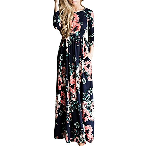 UNION FASHION LTD Women's Spring Fashion Printed Long Dress Three Quarter Sleeve Empire Flower Floor-length (Quarter Sleeves)