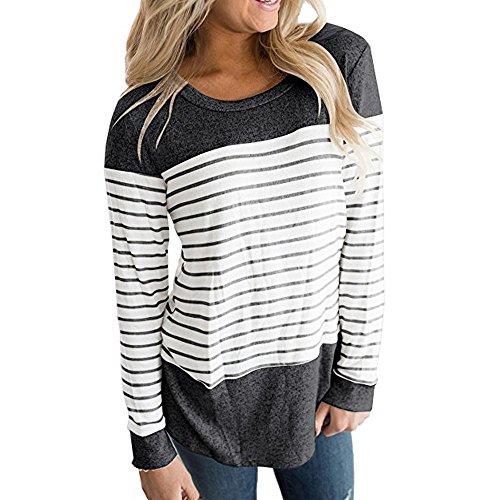 Wobuoke Women Long Sleeve Triple Color Block Patchwork Stripe T-Shirt Casual Blouse