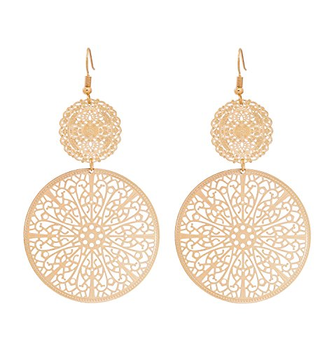 Youmi Filigree Disc Drop Earrings Double Round Disc Statement Earrings Metallic Brass Disc Dangle Hook Earrings (Gold)