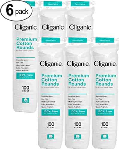 Cliganic Premium Cotton Rounds for Face (600 Count) | Makeup Remover Pads, Hypoallergenic, Lint-Free | 100% Pure Cotton