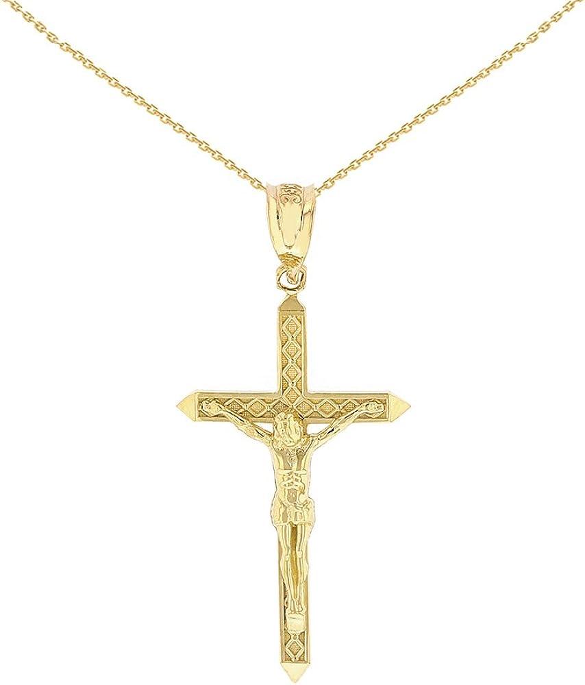 "Solid 14k Gold Passion Catholic Cross Crucifix Charm Pendant Necklace (1.23"")"