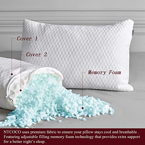 NTCOCO 2 Pillows, Shredded Memory Foam Bed Pillows for Sleeping, with Washable Removable Bamboo Cooling Hypoallergenic Sleep Pillow for Back and Side Sleeper (White, Queen (2-Pack))