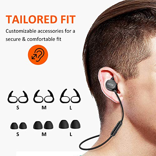 2ae7825d5f2 ... QCY Bluetooth Headphones, Lightweight Wireless Earbuds Sweat Resistant  Sports Earphones for Running/Gym/ ...