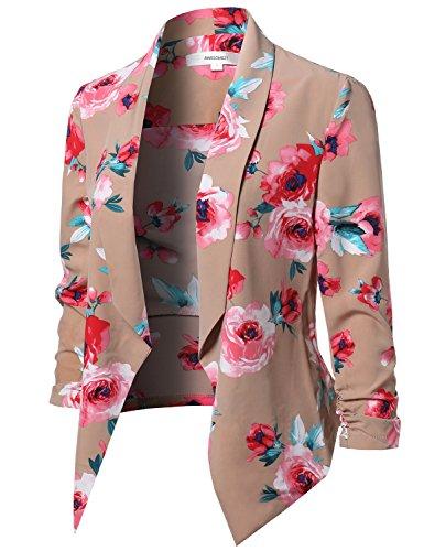Floral Print Open Front Shirring Sleeve Blazer Khaki Size S