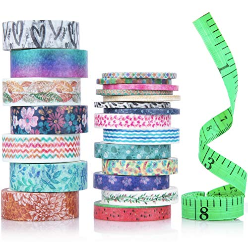 Cute Washi Tape Set with 3 sizes | 15mm 8mm and 3mm Wide Skinny and Thin | Decorative Holiday Craft Tape | Colorful Tape | Floral Japanese Pastel Seasonal Art | Bujo Supplies | Scrapbook Tape 21 Rolls