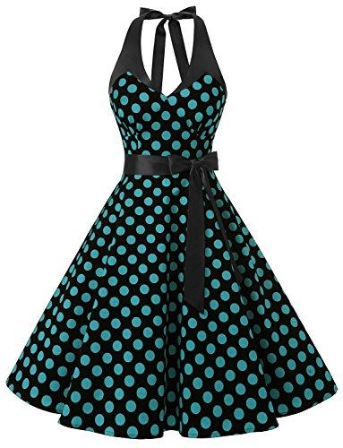 Blue Polka Dot Dress Costume (Dressystar DS1958 Vintage Polka Dot Swing Party Picnic Costume Dresses Halter Black Blue Dot B XS)