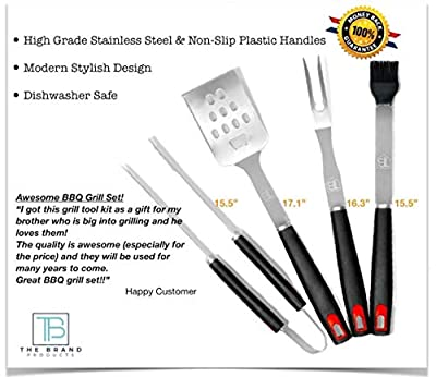 BBQ Grill Tools Set: 4 Piece Stainless Steel Grilling Utensils Kit of Fork, Spatula, Tongs & Basting Brush, Heavy Duty Barbecue Tools, Tailgating, Camping, Backyard Grilling Accessories, Perfect Gift