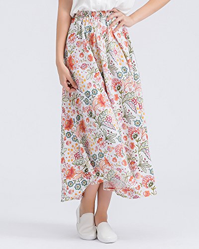 Style Lin Taille Taille Et Jupe A Voyager Couleur Littrature Plage Line Boho lastique 14 Femme Maxi Jupe Grande t Art Longue Longue Imprim Floral Swing p0qwnCxA