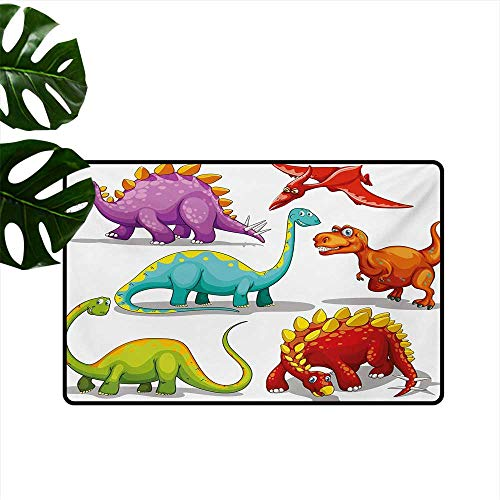 Household Decorative Floor mat,Colorful Funny Different Dino Collection Friendly Wildlife Extinct Animals Ice Age 20