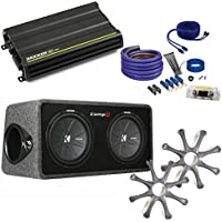 Kicker CompR Dual 12 package with Kicker CX1200.1 1200 watt monoblock, grilles, and wiring kit.