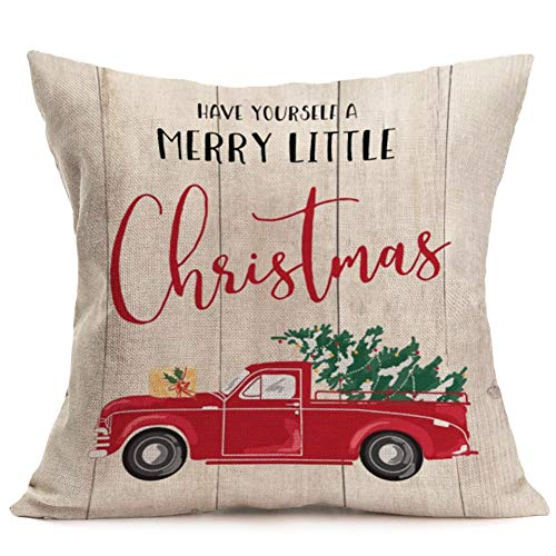 Have Yourself a Merry Little Christmas Quote Throw Pillow Covers Cotton Linen Decorative Red Buffalo Plaids Pillow Covers Cushion Case for Sofa Couch Office Decor 18