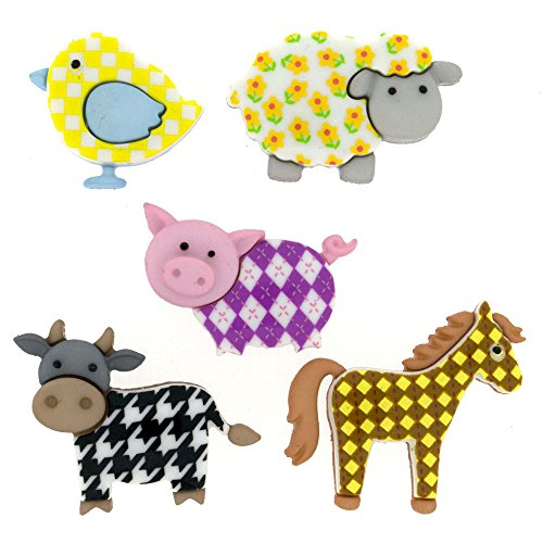 Dress It Up Buttons Animal Collection #7693 Funky Farm 7693-2P ()