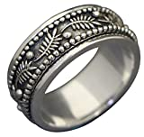 Energy Stone PALM LEAF Meditation Spinning Ring in Sterling Silver Designed by Viola So (Style# US42) (10)