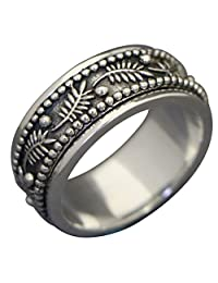 "Energy Stone ""PALM LEAF"" Meditation Spinning Ring in Sterling Silver Designed by Viola So (Style# SR42)"
