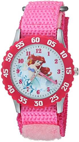 Disney Girl's 'Princess Ariel' Quartz Stainless Steel and Nylon Casual Watch, Color:Pink (Model: WDS000201)